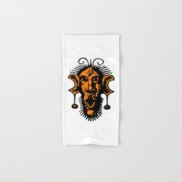 Orange Fierce Primal Tribal Mask, Wild Mask, Super Smooth Super Sharp 13500px x 10125px PNG Hand & Bath Towel
