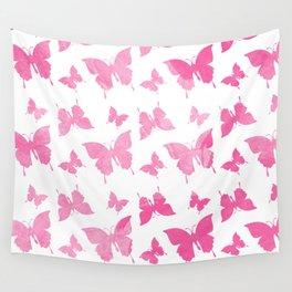 Vintage cute pink watercolor butterflies pattern Wall Tapestry