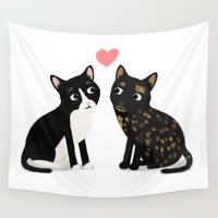 custom Wall Tapestries featuring Custom Cats by Cassandra Berger