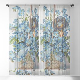 Dachshund and Forget-Me-Nots Sheer Curtain