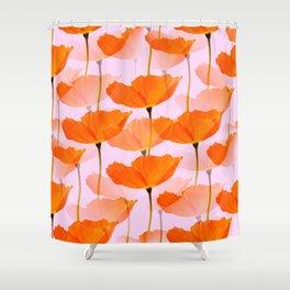 Orange Poppies On A Pink Background #decor #society6 #buyart Shower Curtain