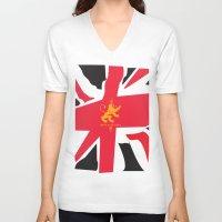 uk V-neck T-shirts featuring UK by John Choi King