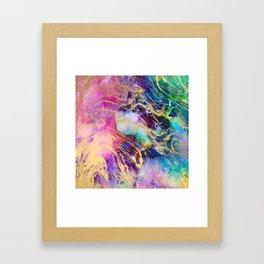 Modern gold marble on pastel pink purple watercolor nebula paint Framed Art Print