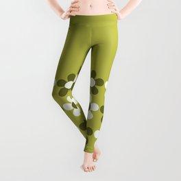Retro Daisy Fresh 3 in Lime Green Leggings