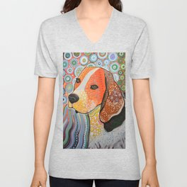 Rocky ... Abstract pet dog portrait art, Beagle Unisex V-Neck