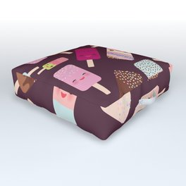 summer ice cream, ice lolly  Kawaii with pink cheeks and winking eyes Outdoor Floor Cushion