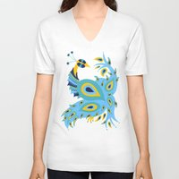peacock V-neck T-shirts featuring Peacock by Cat Coquillette