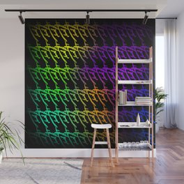 Interweaving pattern of neon squiggles and green ropes on a black background. Wall Mural