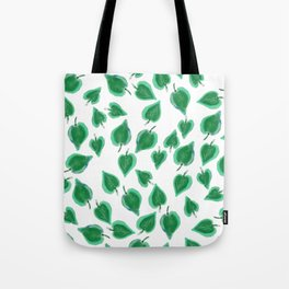 Hand Painted Neo Mint Watercolor Leaves Foliage Tote Bag
