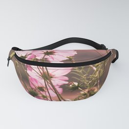 Wild pink meadow flowers III, nature photography, delicate plants field, spring theme Fanny Pack