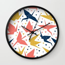 Japanese Origami paper cranes, symbol of happiness, luck and longevity, blue coral mustard Wall Clock