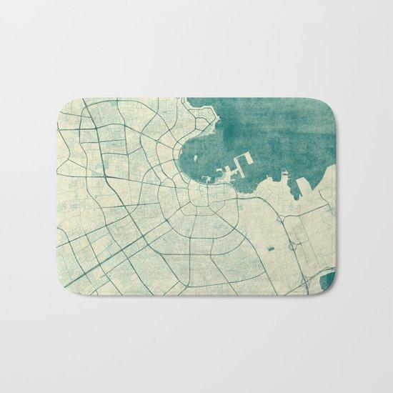 Doha Map Blue Vintage Bath Mat