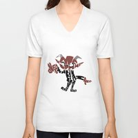 soul eater V-neck T-shirts featuring little demon soul eater by Rebecca McGoran