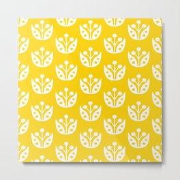 Mid Century Modern Abstract Flower Pattern 821 Yellow Metal Print