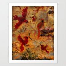 The Cardinal Tree Collage Art Print