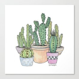 Potted Cactus Family Canvas Print