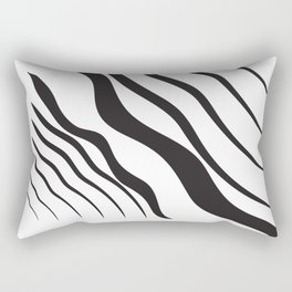 Abstract Graphic Vector Black Waves Rectangular Pillow