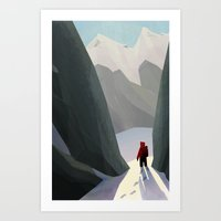 hiking Art Prints featuring Hiking by jaromvogel