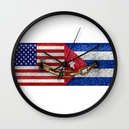 United States and Cuba Flags United Wall Clock