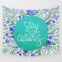 navy Wall Tapestries featuring Stay Curious – Navy & Turquoise by Cat Coquillette
