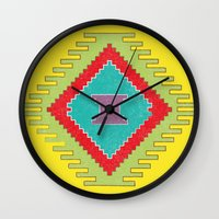 kilim Wall Clocks featuring Persian Kilim - Yellow Background - Distressed by Katayoon Photography