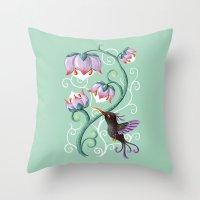 hummingbird Throw Pillows featuring Hummingbird by Freeminds