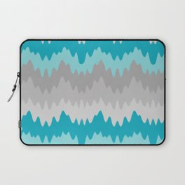 Teal Turquoise Blue Grey Gray Chevron Ombre Fade Zigzag Laptop Sleeve