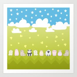 Cute Animals Art, Colorful Art with Clouds, Stars, Grass And Blue Sky Art Print