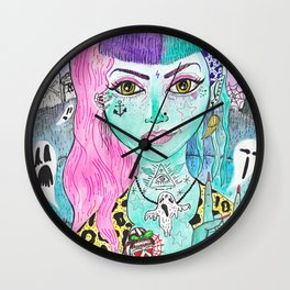Desperate Rockabilly Psychobilly Girl Wall Clock