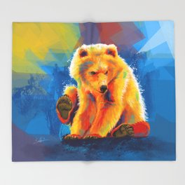 Play with a Bear - Animal digital painting, colorful illustration Throw Blanket