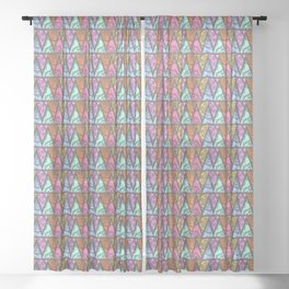 Lace Triangles in Grey Sheer Curtain