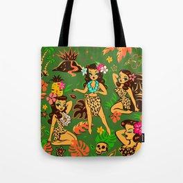 Tiki Temptress on Green Tote Bag