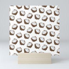 Tropical Summer Brown White Coconut Fruit Pattern Mini Art Print