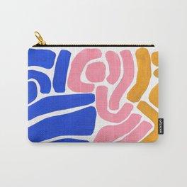 Colorful Minimalist Mid Century Modern Shapes Pink Ultramarine Blue Yellow Ochre Tribal Maze Pattern Carry-All Pouch