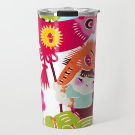 Little Girl with Rooster Travel Mug