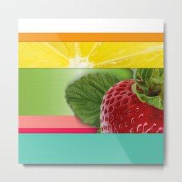 Bright Multicolor Stripes & Fruit Lemon Strawberry Metal Print