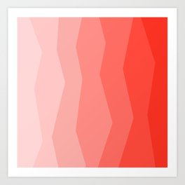 Cool Geometric Living Coral Gradient abstract Art Print