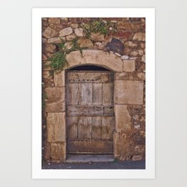 Traditional wooden door in south of France Art Print