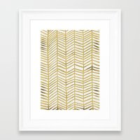 gold Framed Art Prints featuring Gold Herringbone by Cat Coquillette