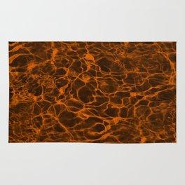 Neon Orange Underwater Wavy Rippling Water Cloudy Flaming Smoke Smokey Water Rug