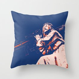 Rocket Propelled Christ - Who WOuld Jesus Blow Up Throw Pillow