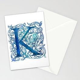 Letter K Antique Floral Letterpress Stationery Cards