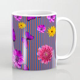 PURPLE BUTTERFLIES ASSORTED FLOWERS Coffee Mug
