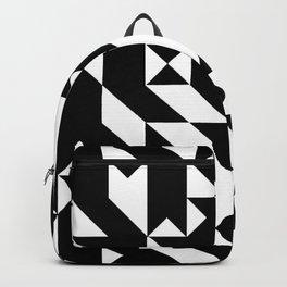 Mark Edz Mono Dogtooth Zebra Mosaic Pixel Pattern Backpack