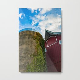 Red Barn with Silo (Country Photography) Metal Print