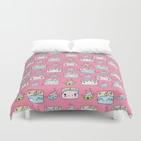 unicorns Duvet Covers featuring Unicorns Friends by Claudia Ramos Designs