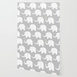 Elephant Parade on Grey Wallpaper
