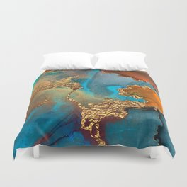 Abstract Blue And Gold Autumn Marble Duvet Cover