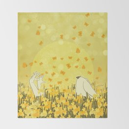 Yellow Effervescence Throw Blanket