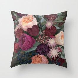 Dark florals Throw Pillow